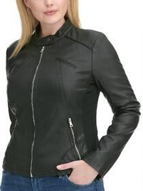 Black Rivet Plus Size Snap-Tab Collar Faux-Leather