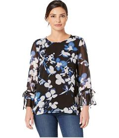 Calvin Klein Printed Tie Top with Flare Sleeve