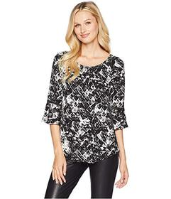 Tribal 3\u002F4 Sleeve Smocking Neck Top