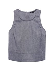 Petite Linen-Cotton Button-Back Tank