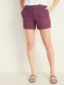 Mid-Rise Twill Everyday Shorts for Women -- 5-inch