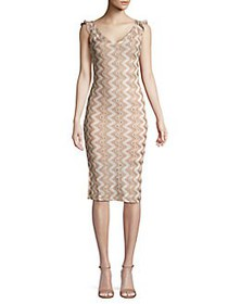BCBGeneration Zigzag Lace Sheath Dress TAUPE