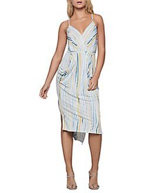 BCBGeneration Textured Stripes Midi Dress OPTIC WH