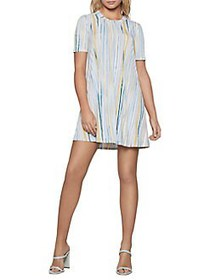 BCBGeneration Textured Stripes Mini Dress OPTIC WH