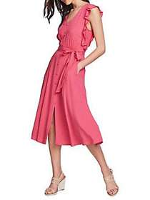 1.STATE Button Front Ruffle Tie Midi Dress BLOOM