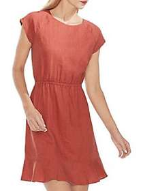 Vince Camuto Cap-Sleeve Linen A-Line Dress CANYON