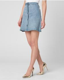 Juicy Couture Crystal Embellished Denim Skirt