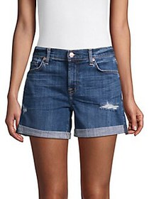 7 For All Mankind Mid-Rise Denim Shorts BLUE