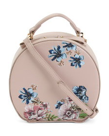 MADISON WEST Embroidered Flowers Round Crossbody