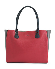 CELINE DION Leather Color Block Large Tote