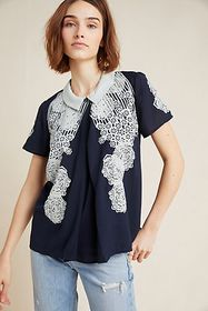 Anthropologie Collared Applique Blouse