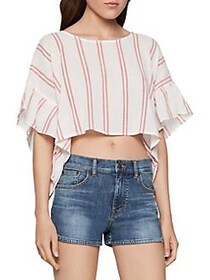 BCBGeneration Ruffle Sleeve Striped Top OPTIC WHIT