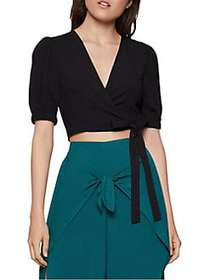 BCBGeneration Puffed-Sleeve Cropped Wrap Top BLACK