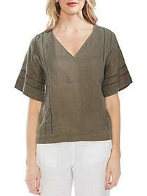 Vince Camuto Elbow-Sleeve Linen Blouse DUSTY SAGE