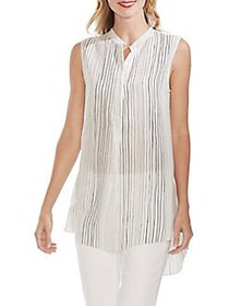 Vince Camuto Mystic Blooms Textured Henley Tunic N