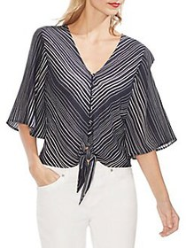 Vince Camuto Mystic Blooms Striped Tie-Front Top C
