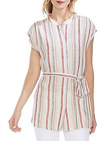 Vince Camuto Striped Button-Down Linen Tunic CANYO