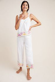 Anthropologie Pennbrooke Embroidered Sleep Pants