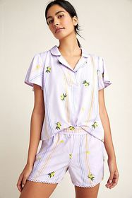 Anthropologie Lemon-Embroidered Sleep Shorts