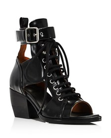 Chloé - Women's Rylee Leather Open-Toe Lace Up Boo