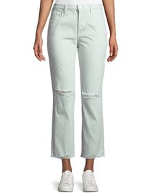 J Brand Wynne Cropped Straight-Leg Jeans with Ripp