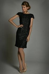Jadore - J1036 Sequined Bateau Short Sleeve Sheath