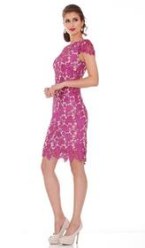 Jadore - J6009 Lace Bateau Sheath Knee Length Dres