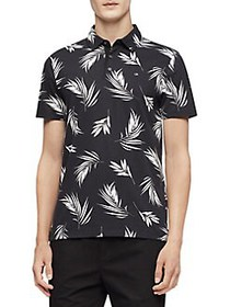 Calvin Klein Printed Cotton Polo BLACK