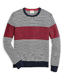 Brooks Brothers Red Fleece Striped Cotton Sweater