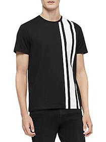 Calvin Klein Striped Cotton Tee BLACK