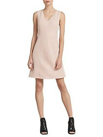 Donna Karan Textured V-Neck Fit-&-Flare Dress BLUS