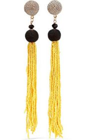 KENNETH JAY LANE Gold-tone, cord and beaded tassel
