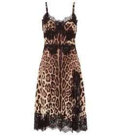 Dolce & Gabbana Lace-trimmed silk-blend dress