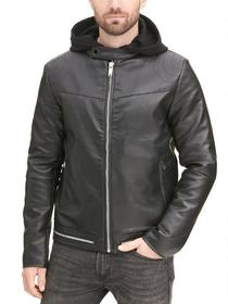 Designer Brand Trapunto Faux-Leather Cycle Jacket