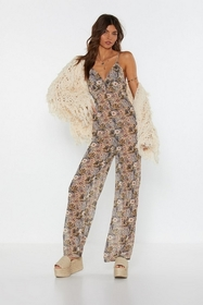 Nasty Gal Womens Nude Floral Low Back Jumpsuit