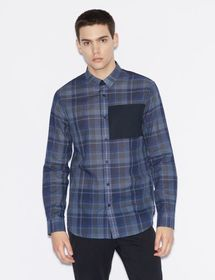 Armani CHECK PATTERN SHIRT WITH CONTRAST INSERT