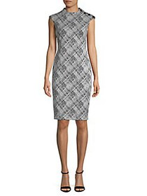 Calvin Klein Printed Sheath Dress BLACK CREAM