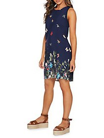 QUIZ Embroidered Butterfly Foliage Tunic Dress NAV