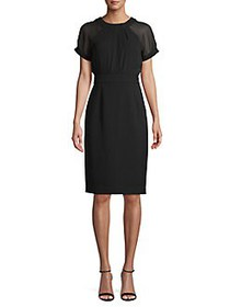 Vince Camuto Short Sleeve Illusion Sheath Dress BL