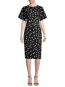Donna Karan Printed Sheath Dress BLACK IVORY