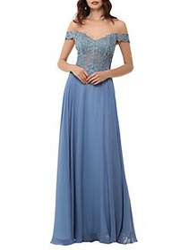 Xscape Embellished Off-the-Shoulder A-Line Gown IR