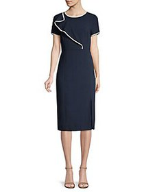 Donna Karan Textured Piping Ruffle Knit Sheath Dre