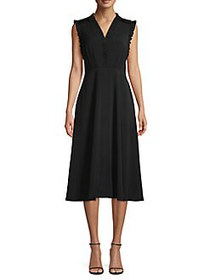 Vince Camuto Ruffle-Trimmed Midi A-Line Dress BLAC