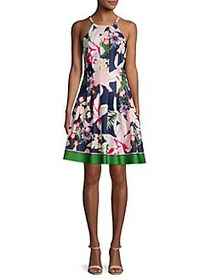 Vince Camuto Pleated Floral Border Halter Dress NA