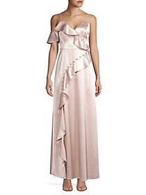 Aidan by Aidan Mattox Ruffled Satin Gown BLUSH