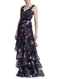 Marchesa Notte Embroidered Floral Tiered Gown BLAC