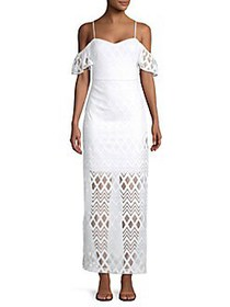 Guess Cold-Shoulder Overlay Dress WHITE