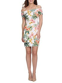 Guess Floral-Print Slim-Fit Sheath Dress WHITE MUL