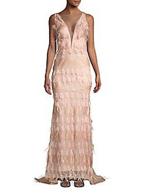 Nicole Bakti Fringe V-Neck Gown ROSE BLUSH