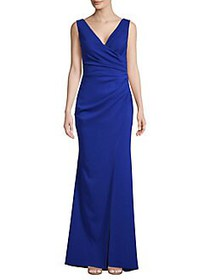 Nicole Bakti Ruched V-Neck Slit Gown ROYAL